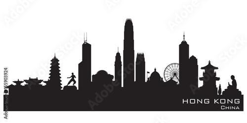 fototapeta na ścianę Hong Kong China city skyline vector silhouette