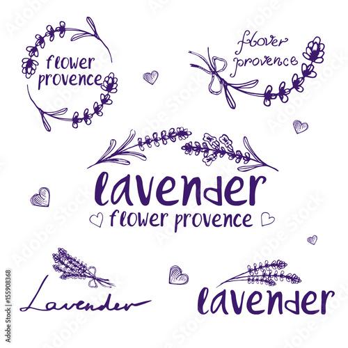 Fototapeta Set of template logo design of abstract icon lavender. Vector illustration