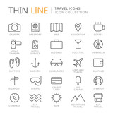 Collection of travel and summer thin line icons