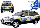 Sweden Police Car - Colored Illustration from Series Euro police, Vector