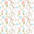 summer flowers with branches for background or fabric. pattern illustration - 155917764