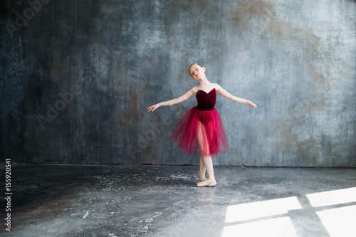 girl ballerina in red tutu doing exercise © shapovalphoto1