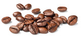 roasted coffee beans on white, (large depth of field, taken with tilt shift lens)