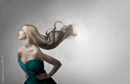 Swishing blonde hair