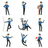 Sailor character doing his job set. Seaman in different situations cartoon vector Illustrations - 155954525