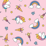 Unicorn, rainbow and magic wand pastel colors seamless pattern