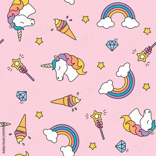 Unicorn, rainbow and magic wand pastel colors seamless pattern - 155956181
