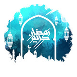 Happy Ramadan, Ramadan Mubarak beautiful greeting card With blue digital art background