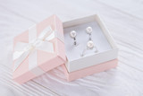 Pearl earrings in the gift box