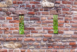 Brick and stone wall background with holes open to the nature