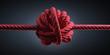 Großer Knoten in rotem Seil