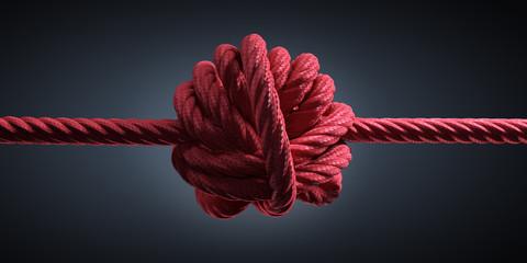 Großer Knoten in rotem Seil © peterschreiber.media