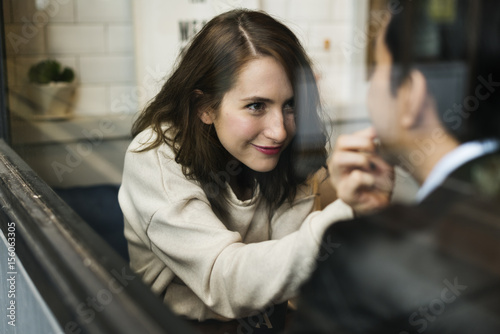 Couple Drinking Coffee Shop Relax Poster