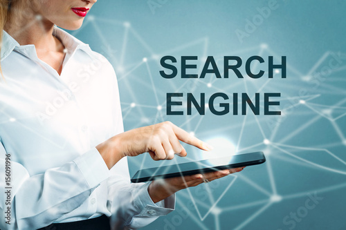Search Engine text with business woman Poster
