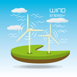 flat landscape releated with windpower, vector illustration
