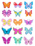 set of cartoon butterflies. vector illustration