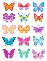 set of cartoon butterflies. vector illustration