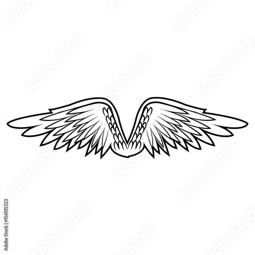 Fotobehang Graffiti graffiti angel wings. feathers doodle style vector illustration