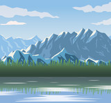 realistic landscape background of snowy mountains and lake vector illustration
