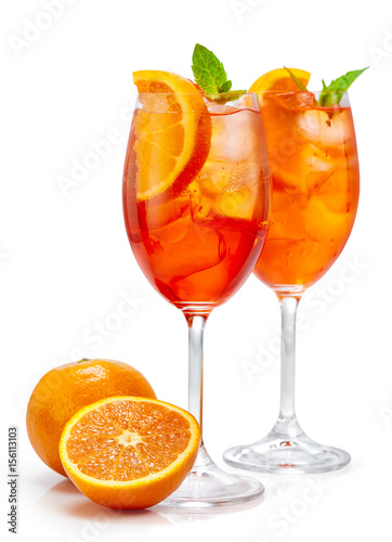 two glasses of aperol spritz cocktail