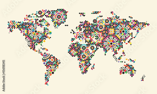 World Map with Morocco Ornament. Colourful Abstract Template - 156118345