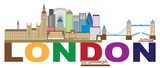 London Skyline Color Text vector Illustration - 156128559
