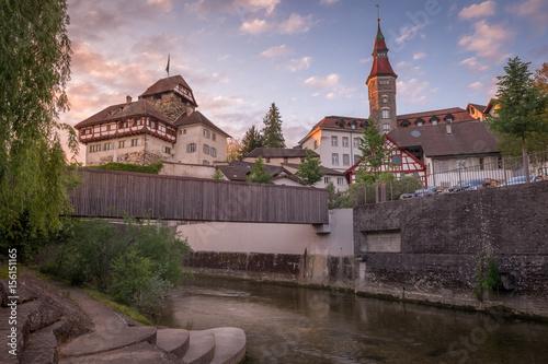 Schloss Frauenfeld und Rathaus im Sonnenuntergang Poster
