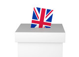 Great Britain election ballot box and voting paper. UK Vote. 3D Rendering - 156159988