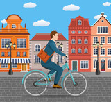 Businessman Riding a Bicycle.
