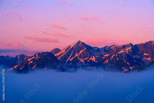Sunset in the Caucasus mountains