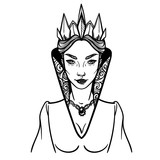 Vector illustration with Evil Queen. For coloring books or print clothes. - 156184187