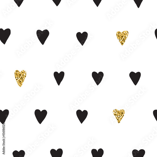 Ink and gold hand drawn doodle vector seamless heart pattern. - 156186120