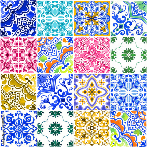 Naklejka na kafelki Seamless pattern with with Portuguese tiles. Watercolor illustration of Azulejo on white background. Multicolor design.
