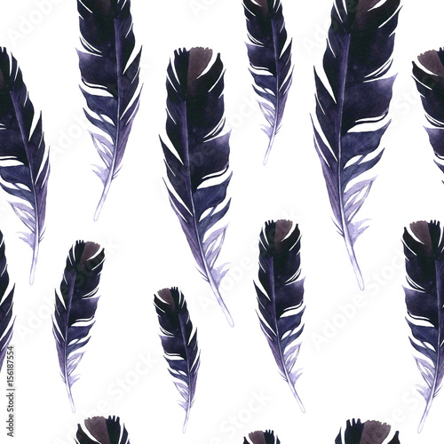 Seamless wild pattern. Background with feathers on white background. Natural watercolor pattern. Boho style. - 156187554