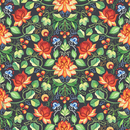 Watercolor seamless pattern in Chinese style