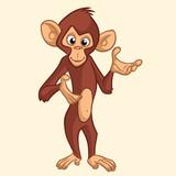 Cartoon monkey smiling. Vector illustration of chimpanzee presenting