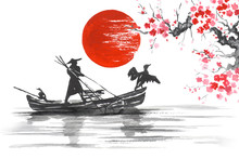 "Постер, картина, фотообои ""Japan Traditional japanese painting Sumi-e art Japan Traditional japanese painting Sumi-e art Man with boat"""