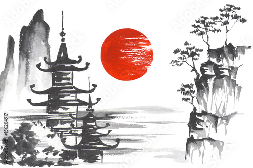 Japan Traditional japanese painting Sumi-e art Mountain Temple Sun Lake