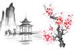 Japan Traditional japanese painting Sumi-e art Sakura Temple