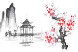 Japan Traditional japanese painting Sumi-e art Sakura Temple - 156205339