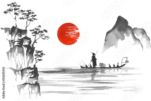 Japan Traditional japanese painting Sumi-e art Japan Traditional japanese painting Sumi-e art Man with boat © rudut2015
