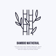 Bamboo fiber flat line icon. Vector sign for matherial property.