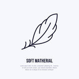 Feather flat line icon. Vector sign for soft, lightweight matherial property. - 156207740