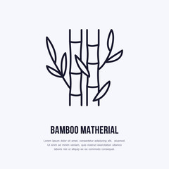 Bamboo fiber flat line icon. Vector sign for matherial property. © nadiinko