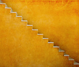 Fototapety Yellow wall with stairs texture background, minimalistic style for base image for posters, banners or covers, trivial design and simplicity is a trendy key for graphic arts