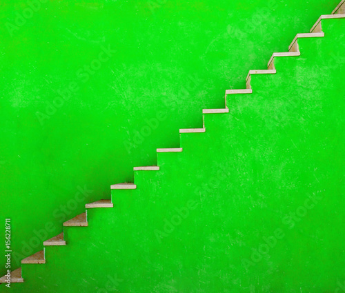 Leinwandbild Motiv Green wall with stairs texture background, minimalistic style for base image for posters, banners or covers, trivial design and simplicity is a trendy key for graphic arts, acid psychedelic color