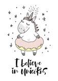 believe in unicorn typography and unicorn illustration vector.