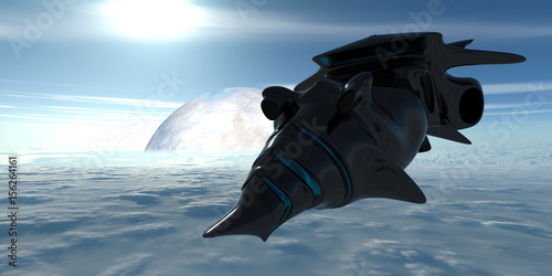 Foto op Canvas Extremely detailed and realistic high resolution 3d image of a space ship. Shot from space.