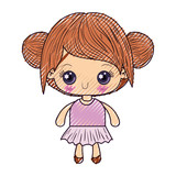 colored crayon silhouette of kawaii cute little girl with collected hair vector illustration