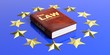 Law book on european union flag. 3d illustration
